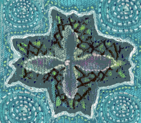 """embroidered knitting digitally  manipulated"""