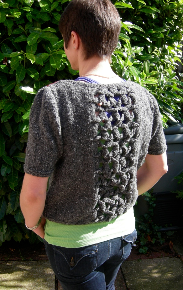 """ sweater back with textural detail"""