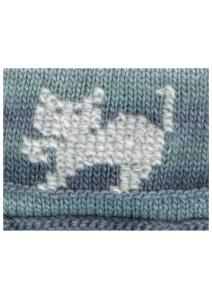 """cross stitch cat on knitting"""