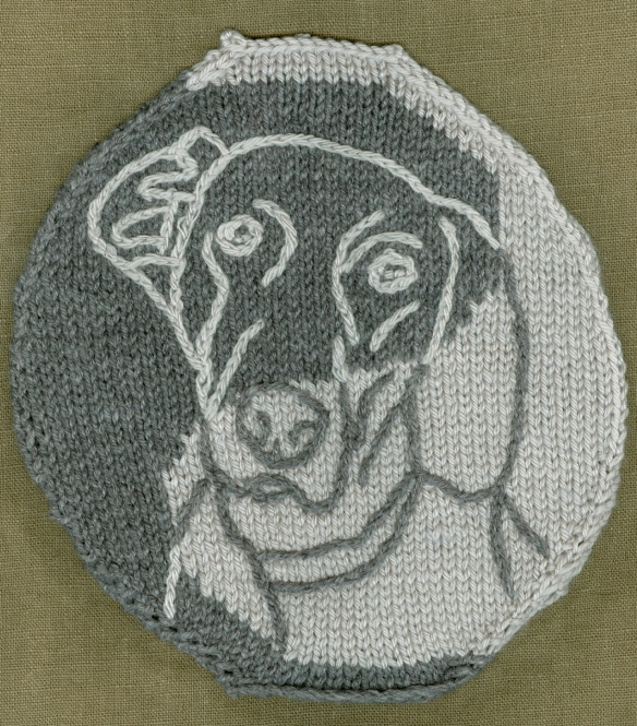 """embroidered Weimaraner on knitted background"""