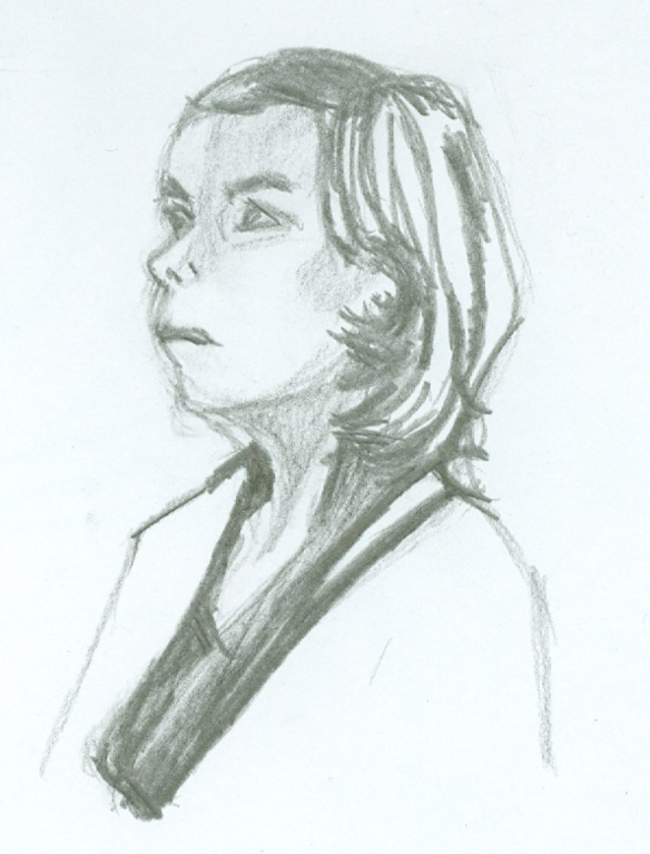 """graphite sketch of female head and shoulders"""