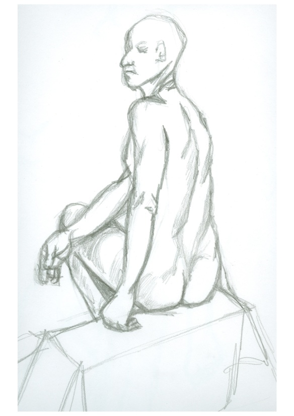 """seated male life drawing"""