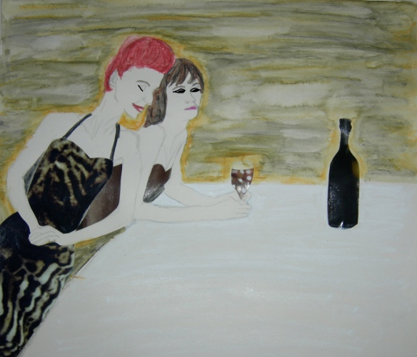 """collaged bar scene"""