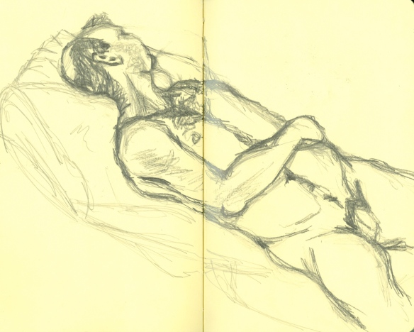 """graphite sketch of supine male nude"""