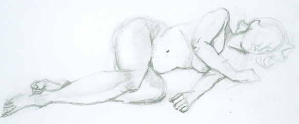 """pencil sketch of a reclining female nude"""