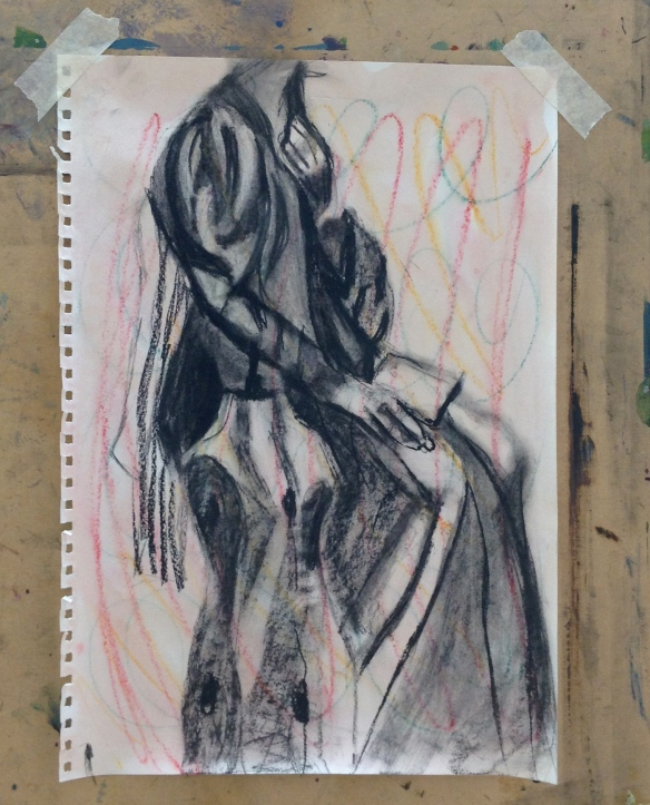 """charcoal drawing of a seated, clothed female"""