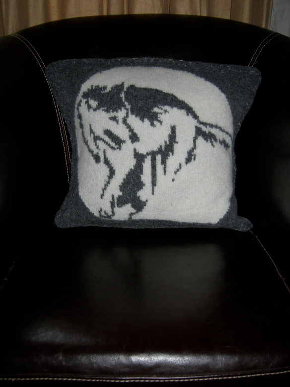 """Nicky Barfoot prowling wolf cushion"""