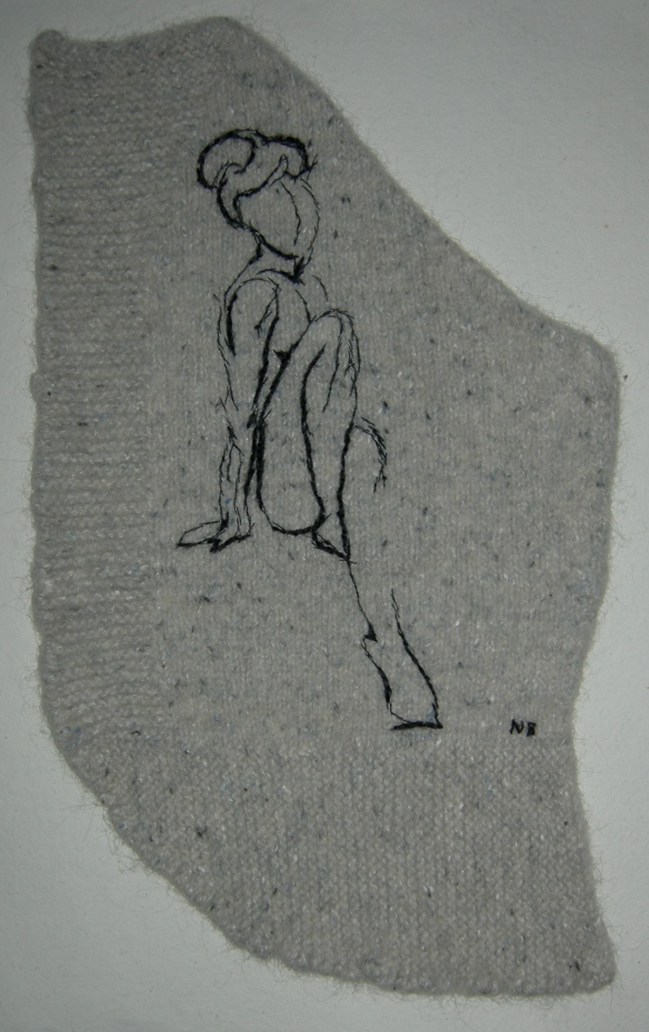 """textile life drawing by Nicky Barfoot"""