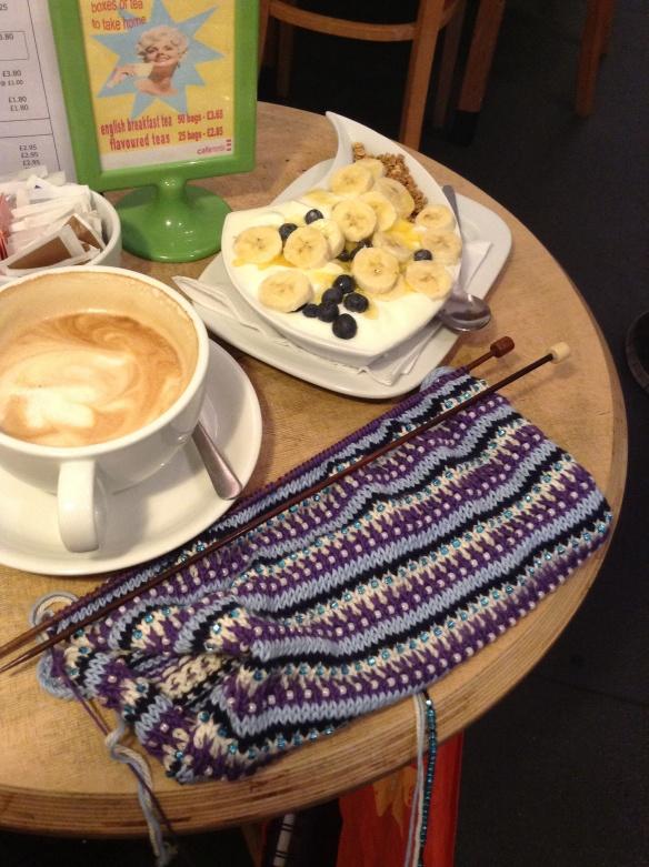 """Breakfast knitting"""