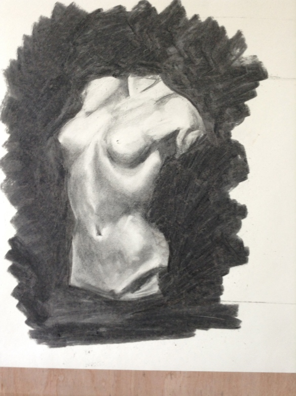 """""""charcoal drawing of female bust"""""""