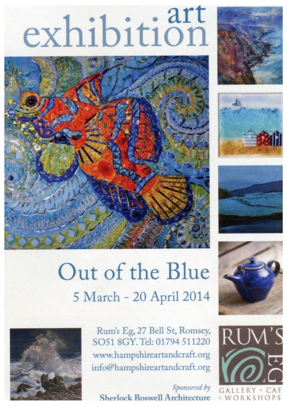"""Flyer for Rum's Eg Out of the Blue Exhibition"""