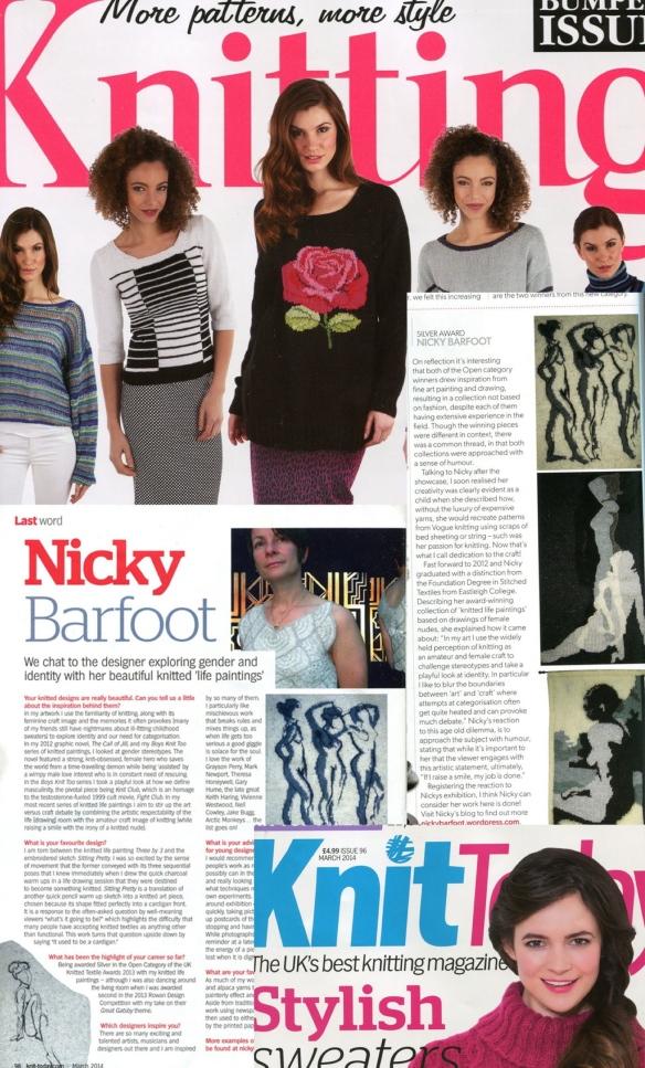 "Nicky Barfoot Magazine Interviews Feb 2014"""