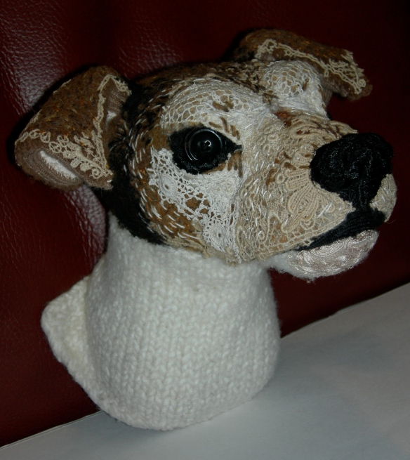 """Jack Russell Terrier textile taxidermy head"""