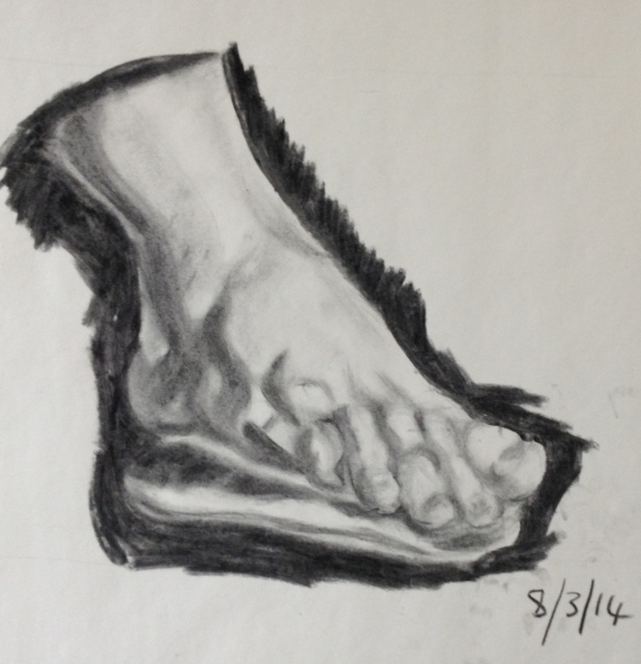 """Charcoal drawing of a foot"""""""
