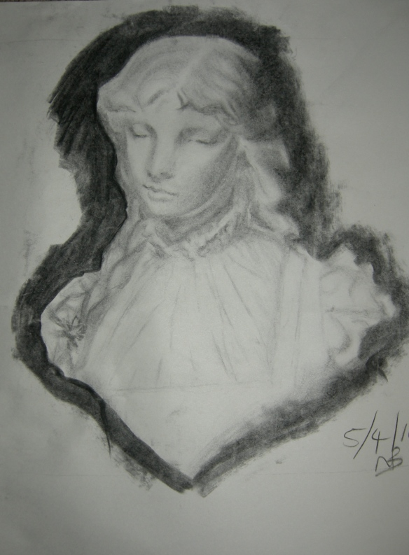 """charcoal drawing of a female cast"""
