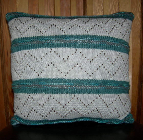 """Nicky Barfoot One of a Kind hand knitted cushion"""