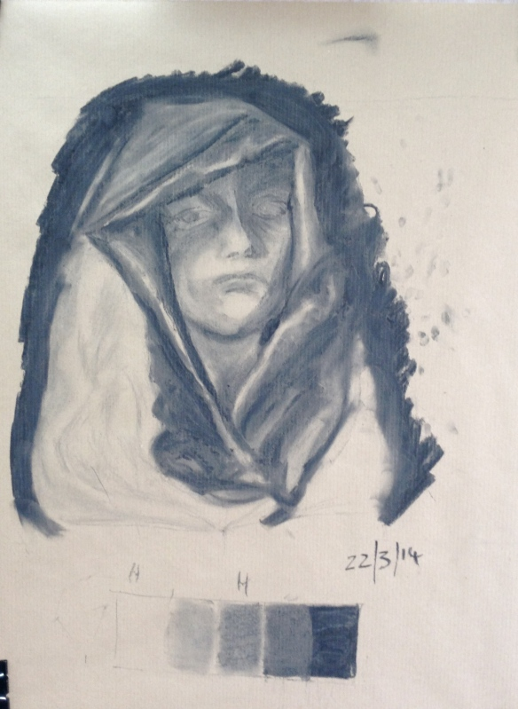 """Charcoal drawing of hooded female cast"""