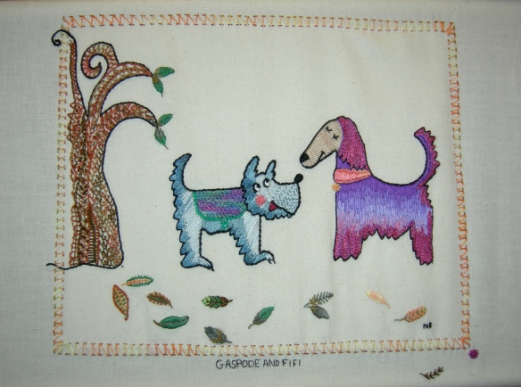 """hand embroidered doggy doodle"""