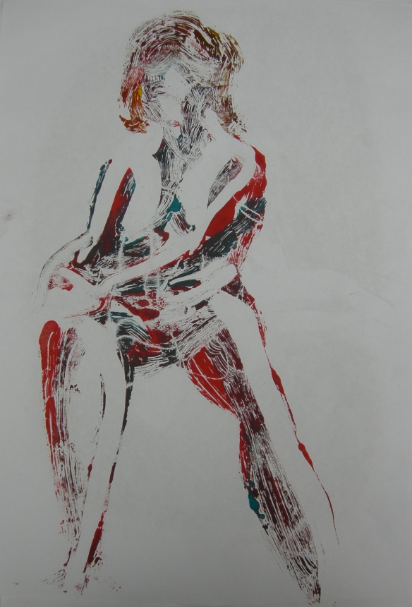 """Seated female using combined additive and reductive monoprint techniques"""