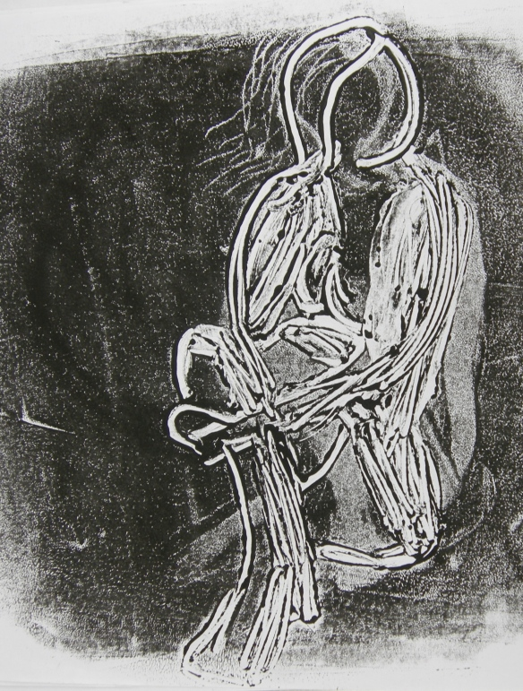 """reductive monoprint of seated female"""