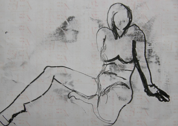 """linear monoprint seated female"""