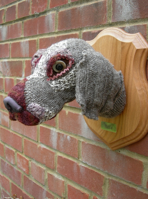 """Weimaraner knitted dog head sculpture"""