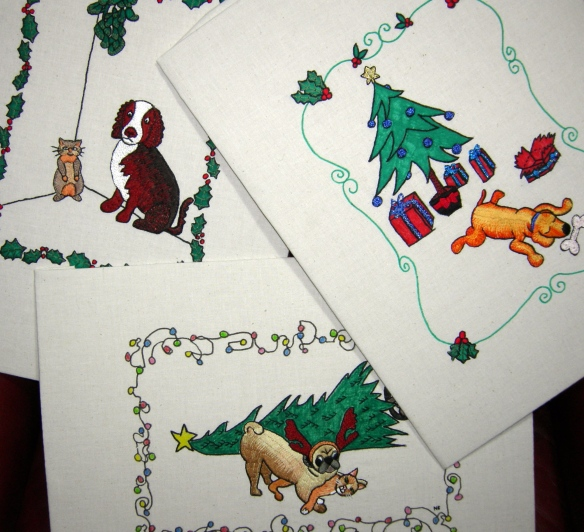 """embroidered Christmas doggy doodles"""