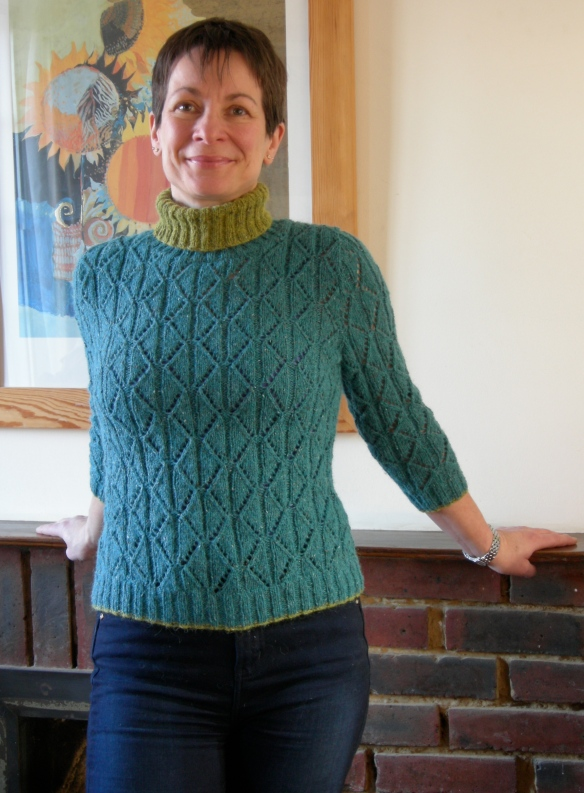 """diamond lace sweater in Rowan Felted Tweed DK"""