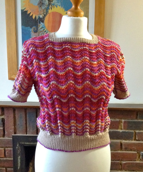 """wavy stripe sweater in 4ply yarns"""
