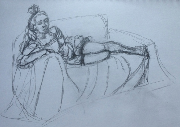 """reclining clothed female figure drawing"""