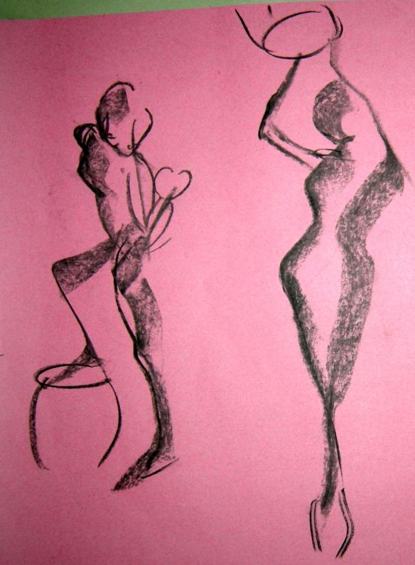 """1 min charcoal gesture drawings"""