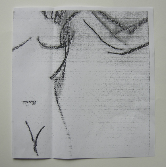 """Charcoal drawing enlarged on a photocopier"""