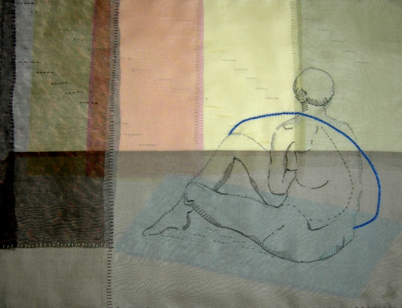 """hand stitched life drawing on silk organza"""