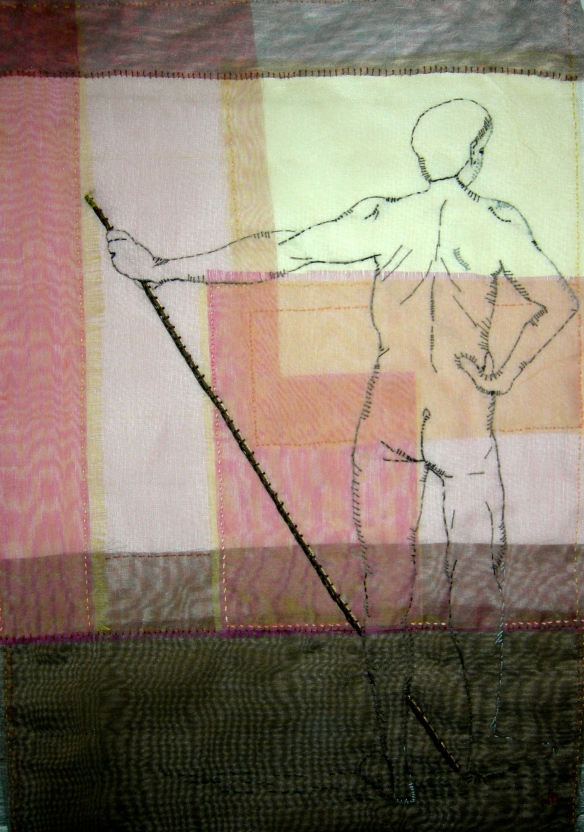 """hand stitched life drawing on layered silk organza"""