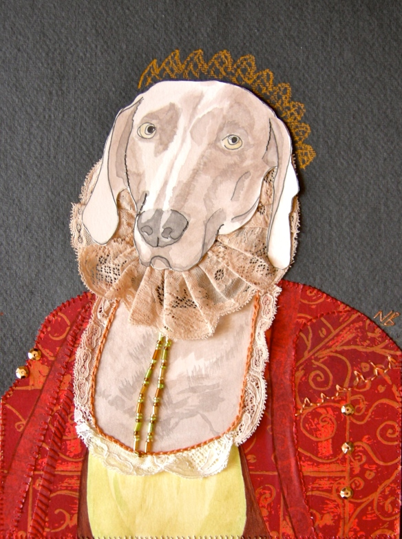 """mixed media Weimaraner portrait"""