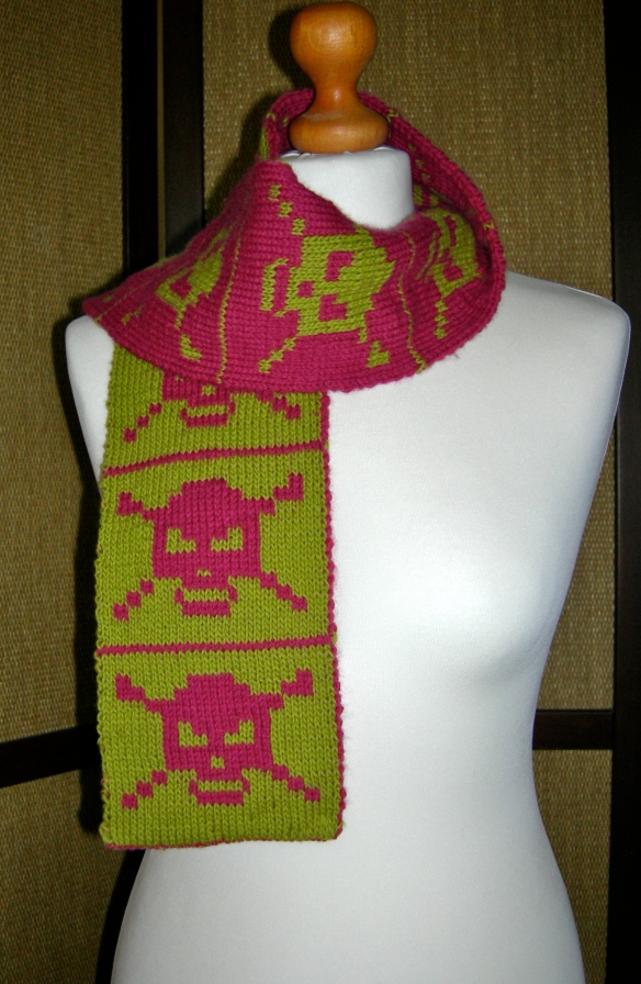 """hand knitted double sided scarf"""