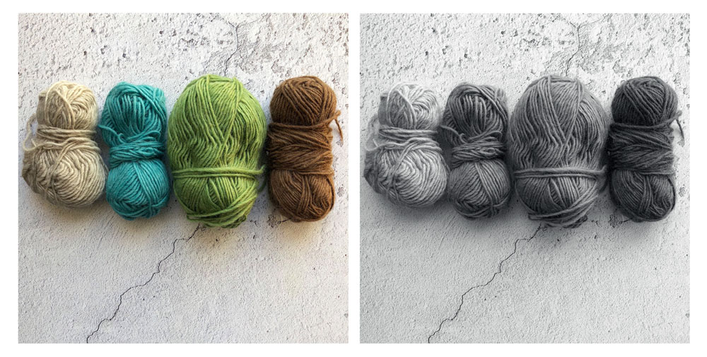 Tonal values in a yarn selection low res