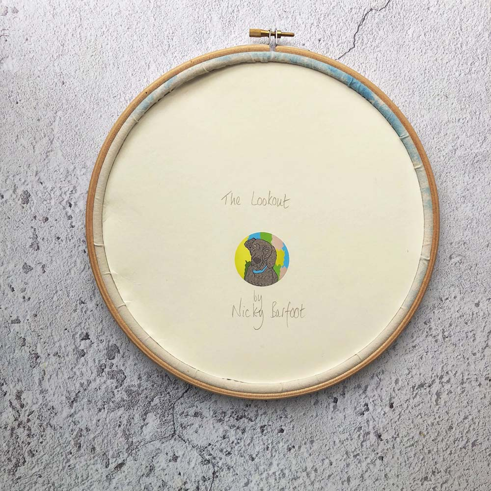 The back of finished hoop art