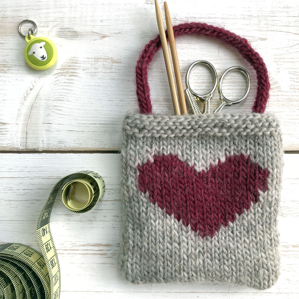 heart gift bag with knitting etsy